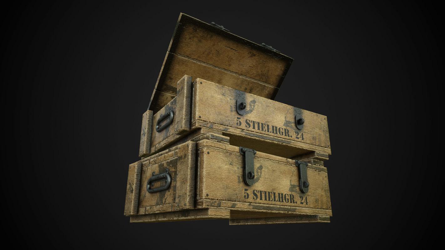 3d model german hand grenade crate