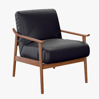 3d west elm mid-century leather