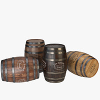 3d model wood barrel