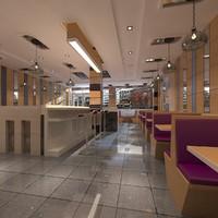 restaurant fast food 3d max