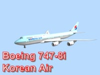 3d model boeing 747-8i korean air