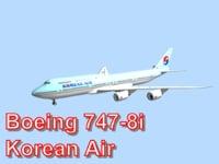 3d model boeing 747-8i korean air