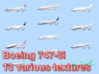 3d model boeing 747-8i 13 various