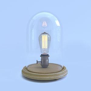 3d max edison glass cloche lamp bulb