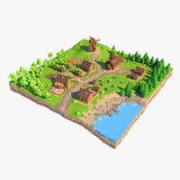 Cartoon Low Poly Village