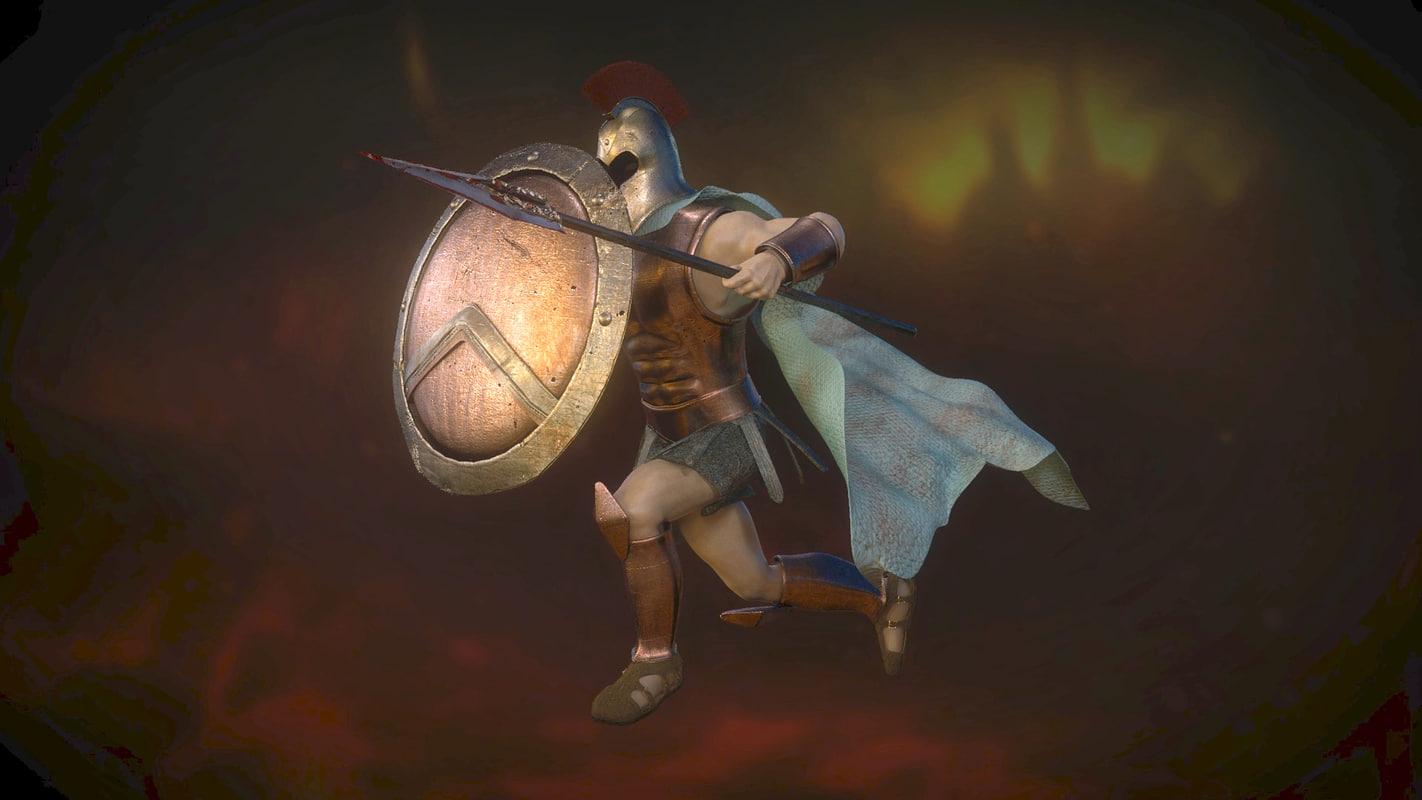 3d obj greek roman warrior