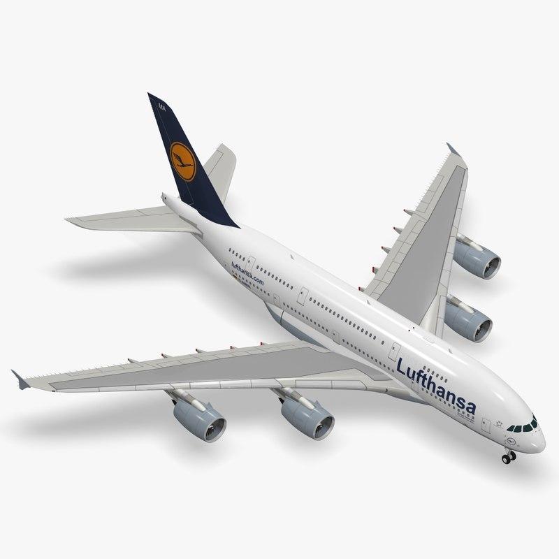 3d model airbus a380-800 lufthansa a380