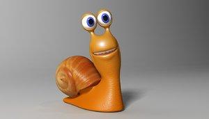 3d cute cartoon snail rigged