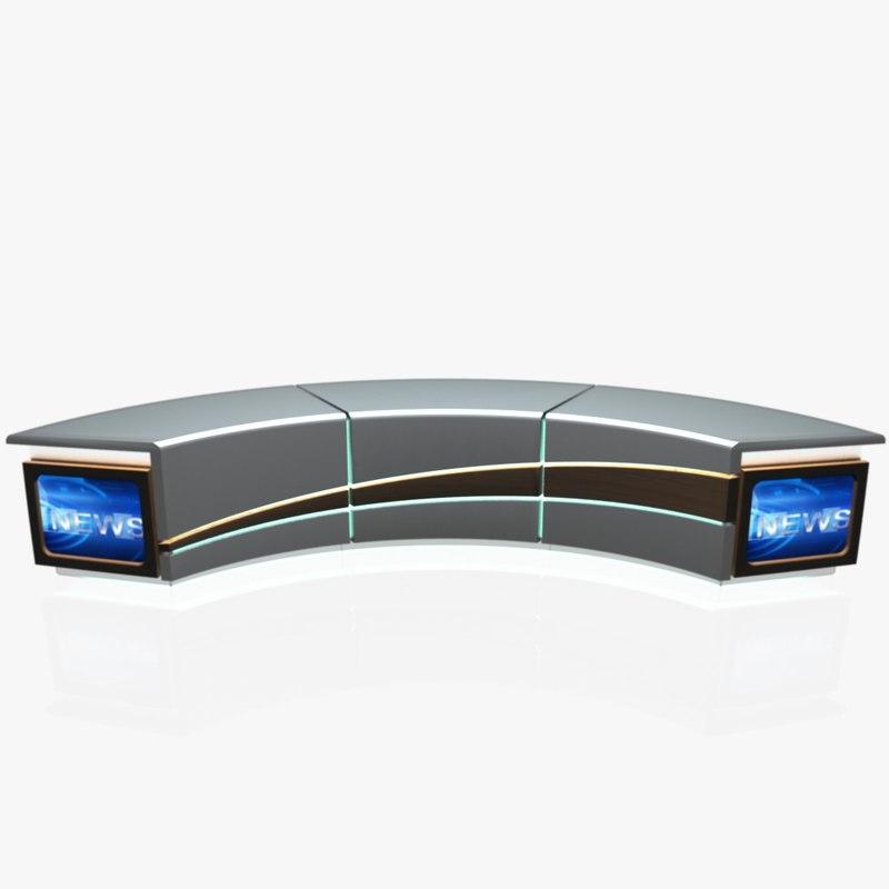 virtual tv studio news 3d dxf