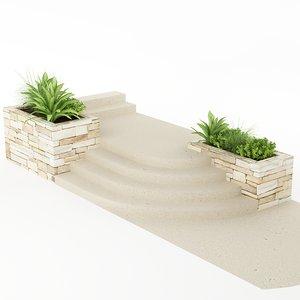 plants stairs pot 3d obj