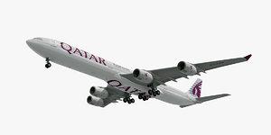 airbus a340-600 plane qatar 3d c4d