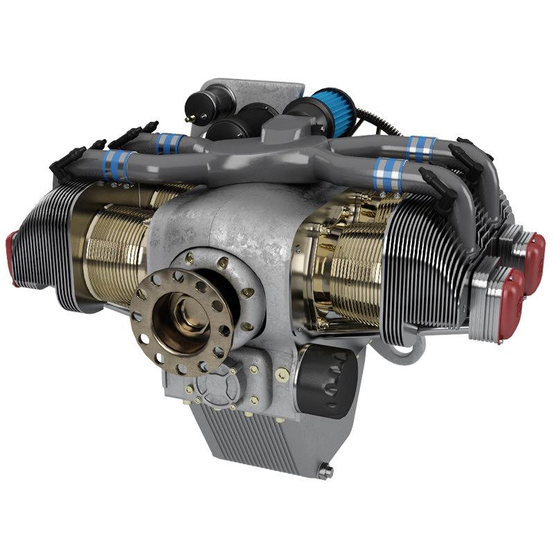 3D piston aircraft engine model