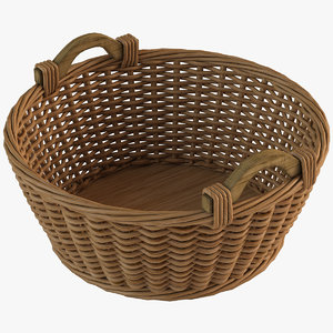 realistic wicker basket 3d model