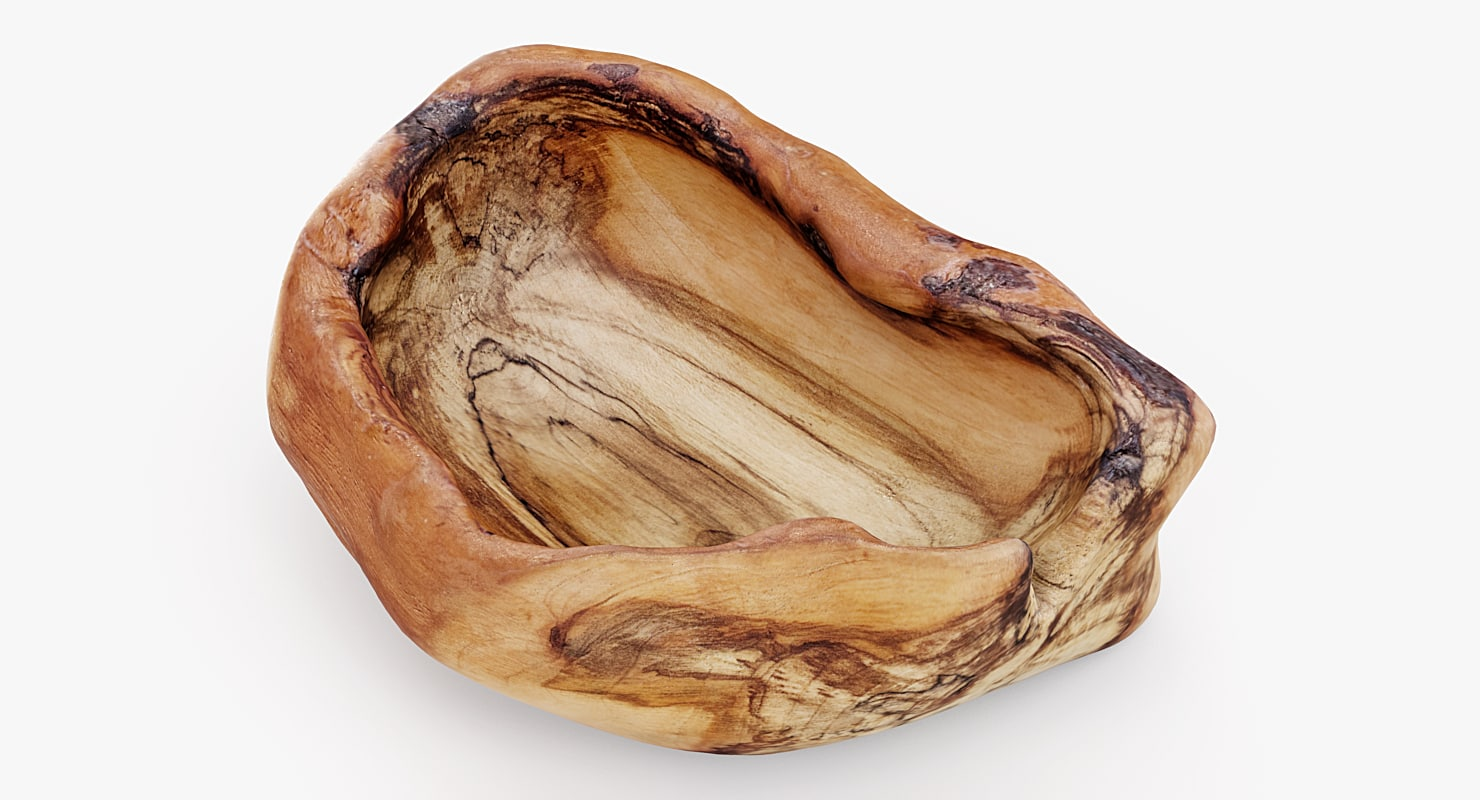 realistic old wood bowl 3d model