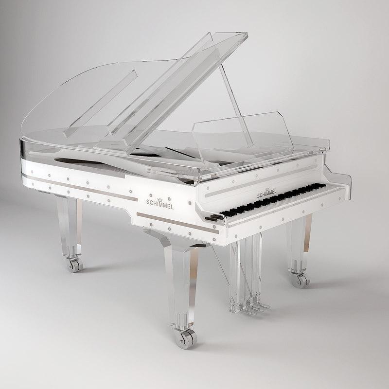 modern piano schimmel 3d model