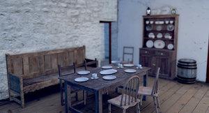 3d old irish cottage