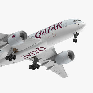 airbus a350-800 qatar rigged 3D model