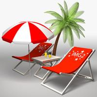 deckchairs settings 3d model