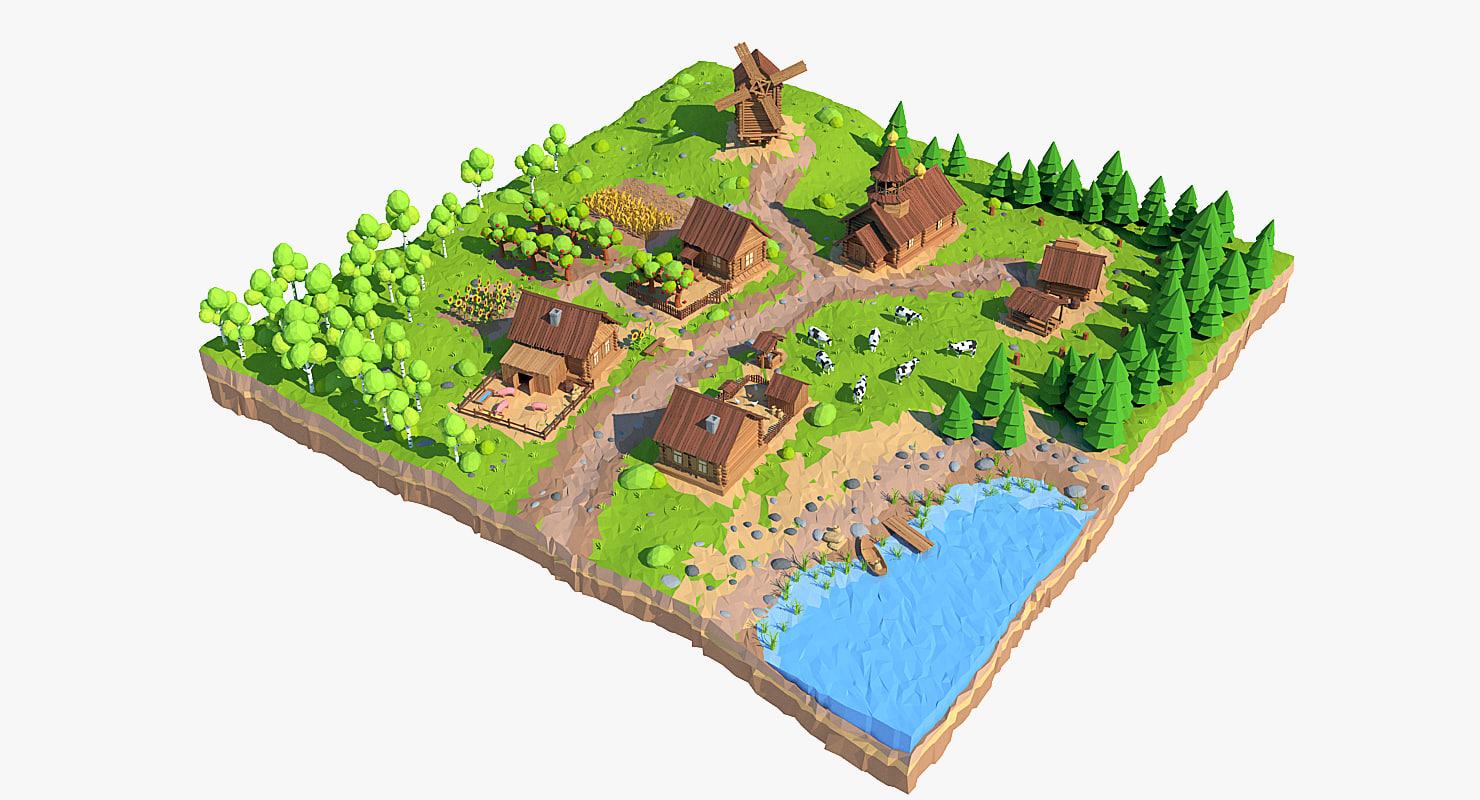 3d village cartoon model