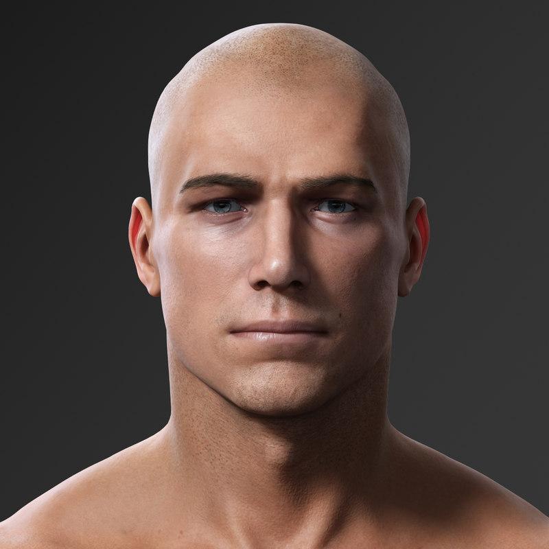 photorealistic male body realistic head model