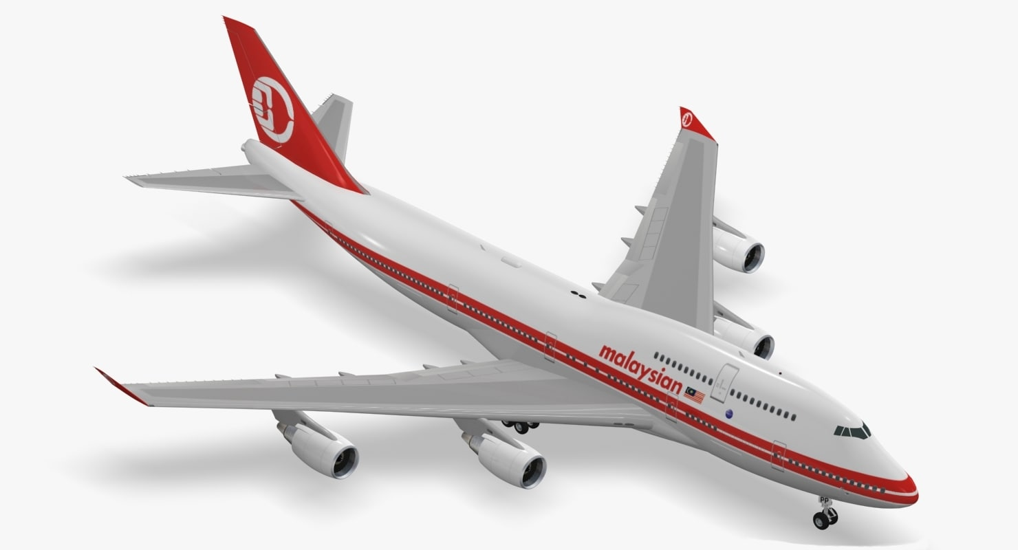 boeing 747-400 malaysia airlines 3d max