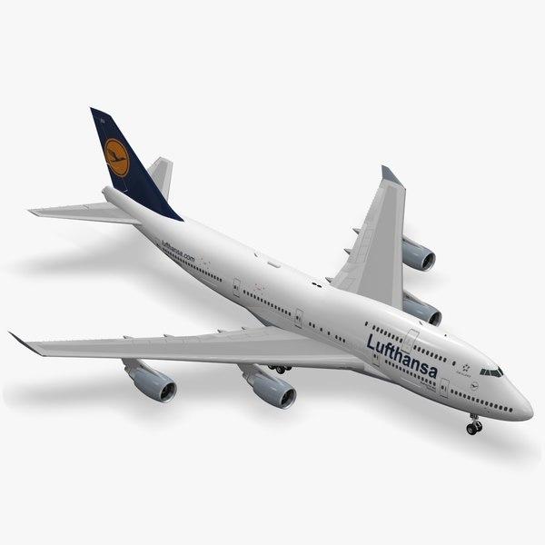 3d boeing 747-400 lufthansa