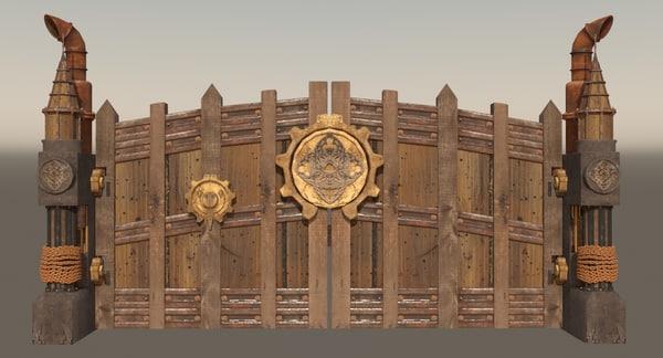 3d steampunk gate model