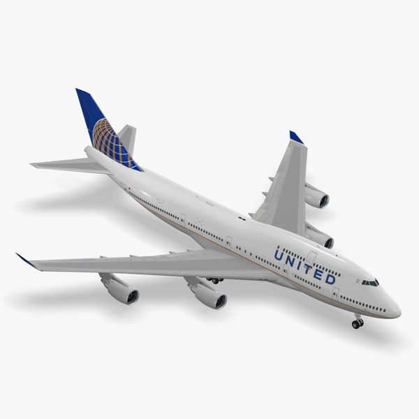 3d model boeing 747-400 united airlines