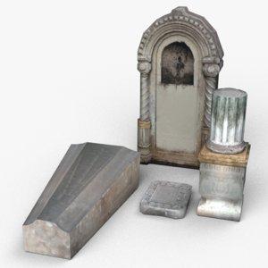 low-poly tombstones - stone obj