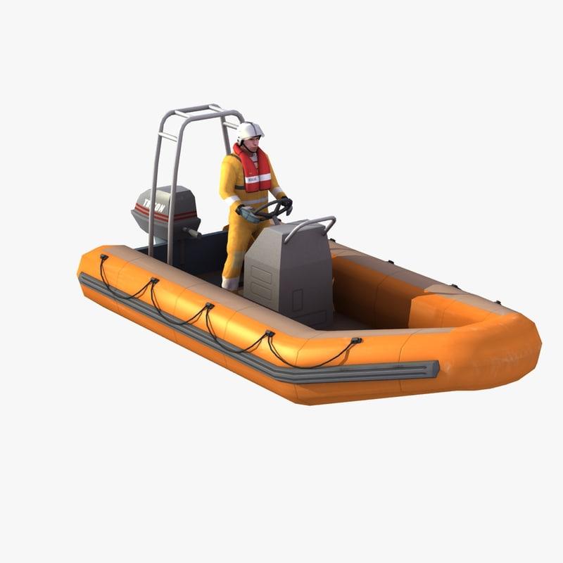 3D model rigid inflatable boat zodiac
