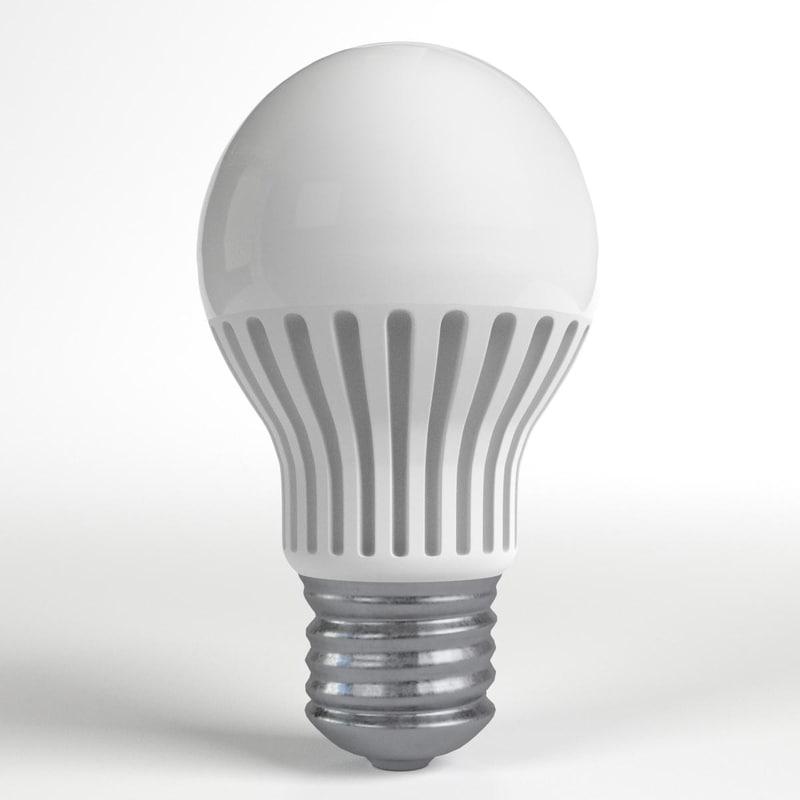 3d model florescent led light bulb lamp