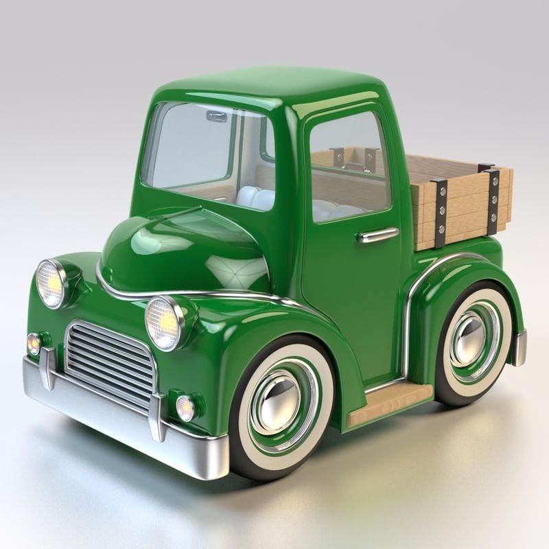 3d cartoon farm pick truck interior