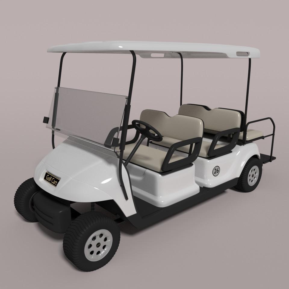3d large golf cart model