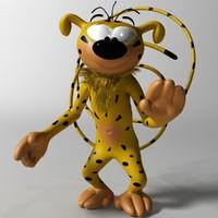 3d model marsupilami character rigged
