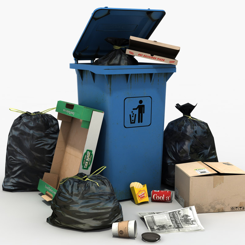 trash dustbin obj