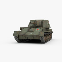 ww2 self propelled gun 3d model