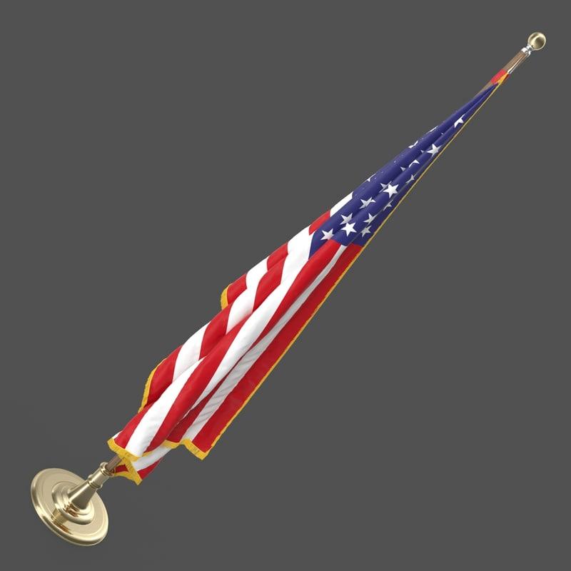 3d oval office usa flag