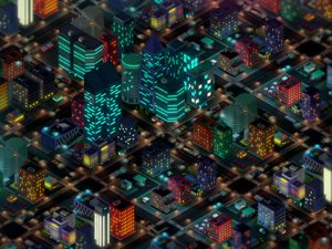 Low Poly Megapolis Night City Pack