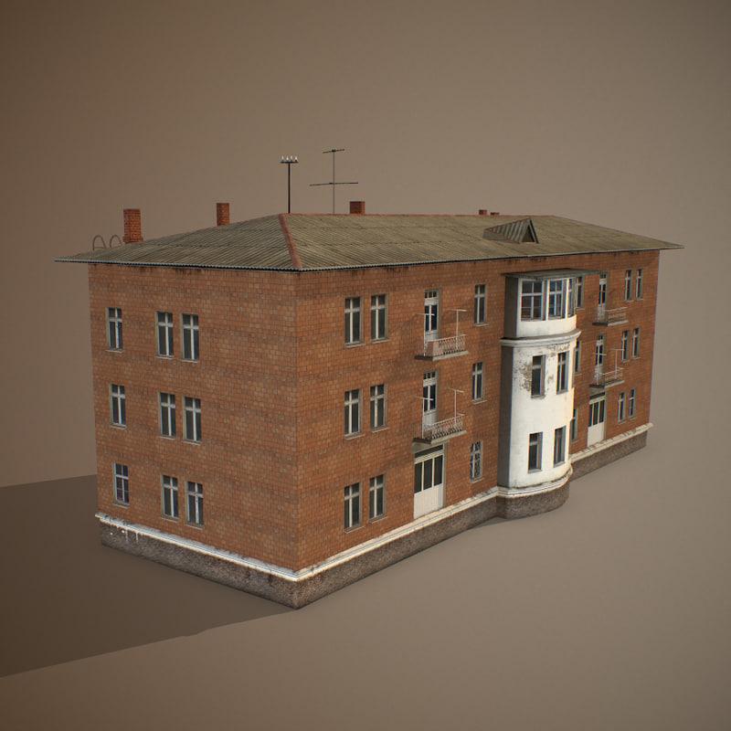 3d obj soviet apartment building