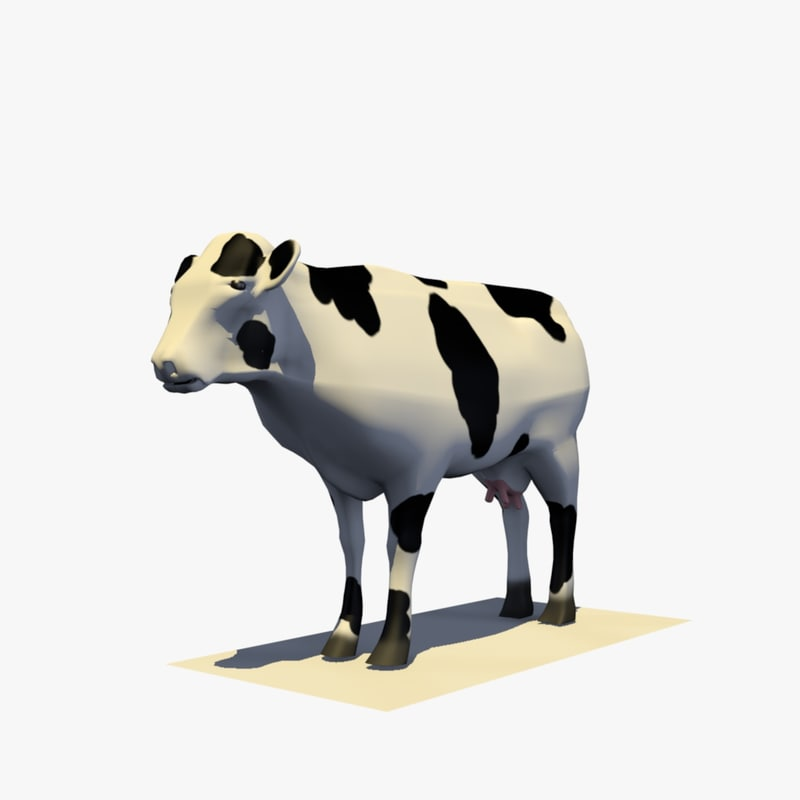 cow eating rigged animal model