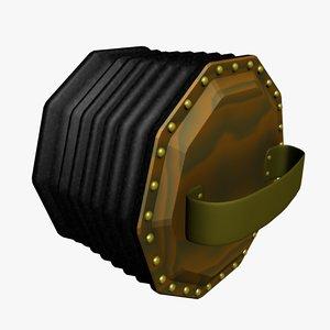 accordian concertina musical 3d 3ds