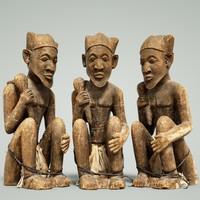 3d model statue man dogon