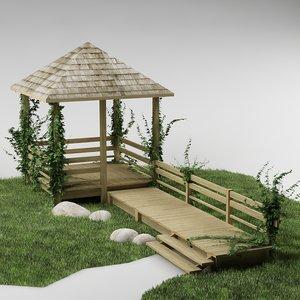 gazebo plants grass 3d model