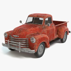 3D old rusty pickup truck model