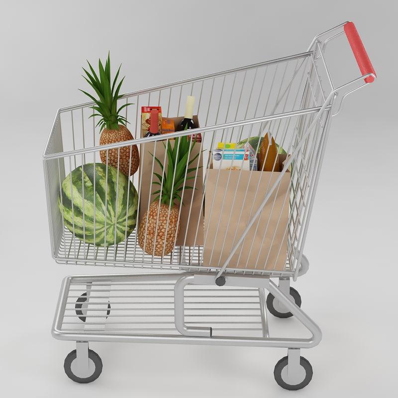 3d model shopping cart food