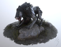 3d model of mutated monster dog animation