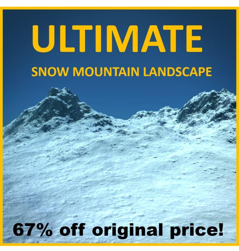 snowy mountain terrain photorealistic 3d x