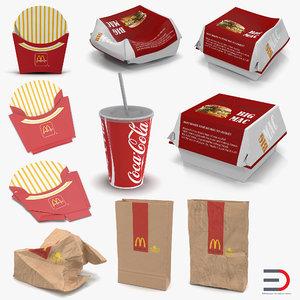3D mcdonalds packaging 2 model