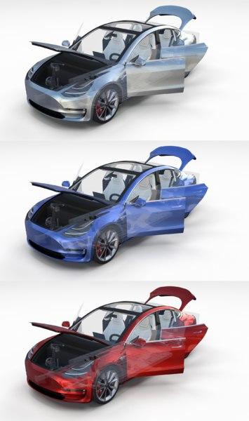 pack 3 tesla interior model