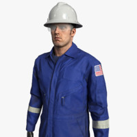mining coveralls safety worker 3d model